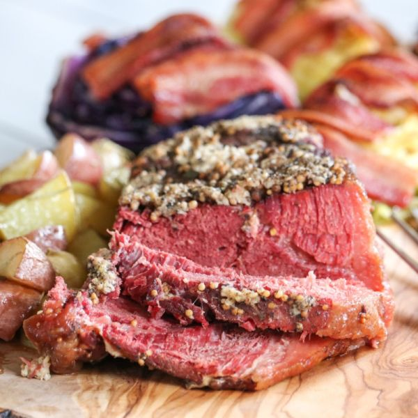 Crusted Corned Beef with Roasted Cabbage, Bacon and Stout Reduction