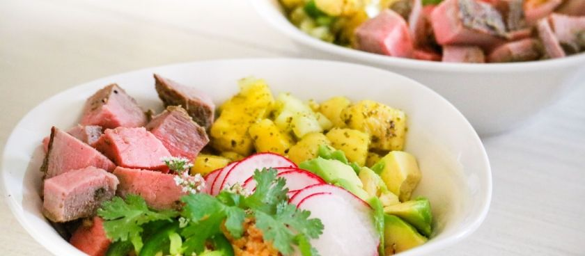 Paleo Steak Bowl with Pineapple-Jalapeño Salsa